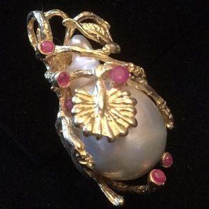 Exquisite💥Genuine Baroque Pearl Pendant & Rubies